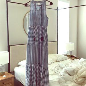 Blue and white ruffled gingham maxi dress